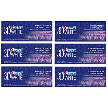 (PACK OF 6 TUBES) Crest 3D White Anti-Cavity Teeth Whitening Toothpaste. Removes Up to 90% of Surface Stains! Vibrant & Refreshing Mint Flavor! (6 Tubes, 5.5oz each Tube): Health & Personal Care