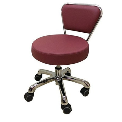Spa Pedicure Chair Stool for Nail, Hair, Facial Technician (Short, Black) (Burgundy)