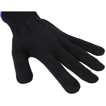 Eqoba Heat Resistant Flat Iron Glove, Professional Anti-Burn Protection Black Glove Blue Cuff