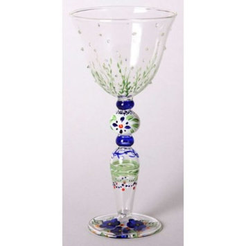 Set of 2 Blue Floral Wine Drinking Glasses with Embossed Dots - 13 Ounces