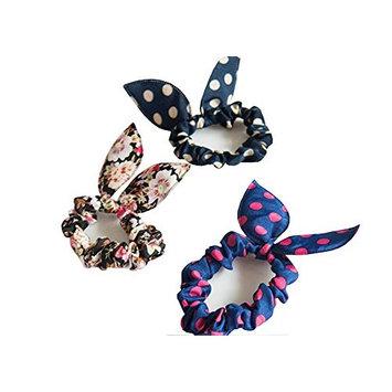 10 Pcs Lovely Lady Girls Dot Rabbit Ear Hair Bow Tie Bands Ponytail Holder