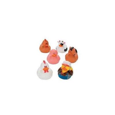 Fun Express One Dozen (12) Rubber Duck Duckie Ducky FARM ANIMAL Party Favors [Toy]
