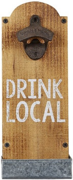 Mud Pie Drink Local Bottle Opener 14 Inch Mango Wood and Galvanized Metal Tray