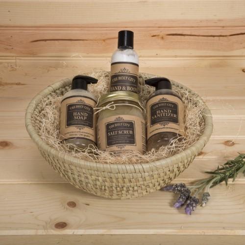 Holy City Skin Products 4 Piece Natural Dead Sea Spa Set, 16oz Dead Sea Salt Scrub, Hand Sanitizer Hand Soap, Hand & Body Lotion, Kaisa Grass Round Basket 11.5' x 4.5' Apple