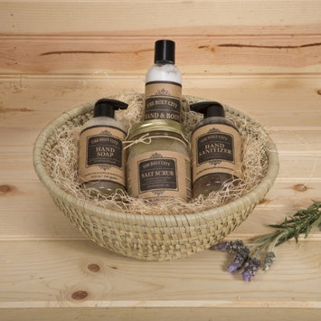 Holy City Skin Products 4 Piece Natural Dead Sea Spa Set, 16oz Dead Sea Salt Scrub, Hand Sanitizer Hand Soap, Hand & Body Lotion, Kaisa Grass Round Basket 11.5' x 4.5' Apple