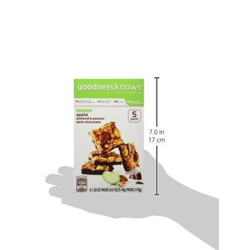 goodnessKNOWS Apple, Almond Peanut & Dark Chocolate Gluten Free Snacks Square Bars 5-Count Box (Pack of 6)
