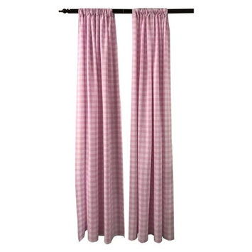 LA Linen BDcheck58x96-2Pk-PinkK37 Polyester Gingham Checkered Backdrop White & Pink - 58 x 96 in. - Pack of 2