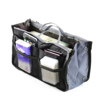 Bag in Bag,Double Zipper Portable Multifunctional Travel Pockets Handbag Storage Bag,Fadish Travel Organizer Makeup Bag in black