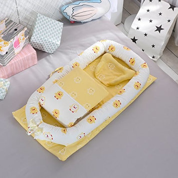 DOLDOA Baby Bassinet for Bed Portable Baby Lounger for Newborn,100% Cotton Newborn Portable Crib,Breathable and Hypoallergenic Sleep Nest Newborn Lounger Pillow for Bedroom/Travel
