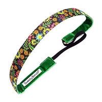 Sweaty Bands Womens Girls Headband - Non-Slip Velvet-Lined Athletic Hairband - Secret Garden Green