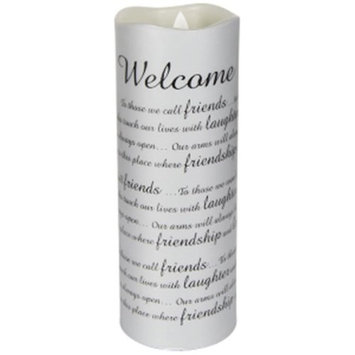 Carson Home Accents 14661X 8 x 3 in. Candle Flameless Flicker-Sonnet Welcome with Timer-Vanilla