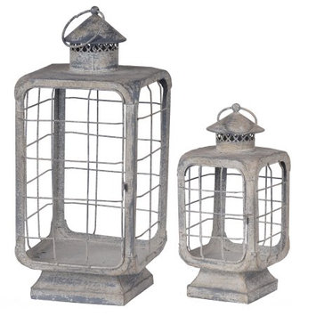 Ahab Candle Lanterns - Set of 2 - A & b Home, Off White