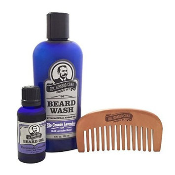 Col Ichabod Conk Rio Grande Lavender Beard Wash & Beard Oil Combo Pack with Comb