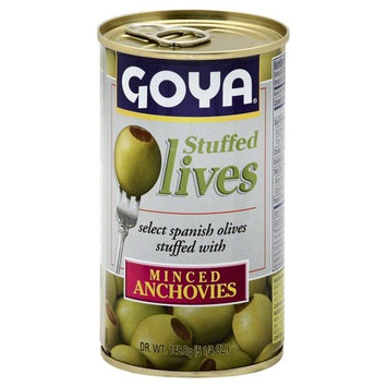 Goya Manzilla Green Olives Stuffed with Anchovies, 5.25 Ounce Can of Spanish Anchovy Olive