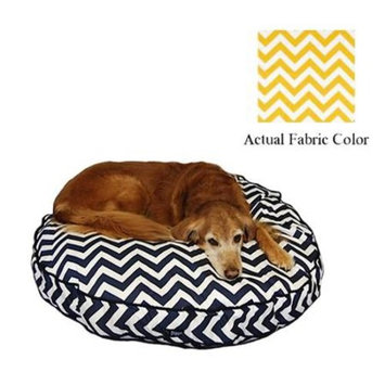 Yellow and White Chevron Printed Deluxe Round Pet Dog Bed - Large