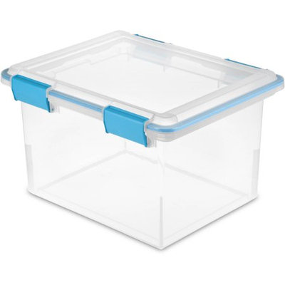 Sterillite Corporation Sterilite 32-Quart Gasket Box, Blue Aquarium, Set of 4