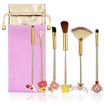 Makeup Brush Set, 6 Pcs Various Sakura Magic Girl Makeup Brush Set Gold Metal Handle Powder Outline Blush Concealer Foundation Cream Makeup Box Magic Tool Beauty Tool