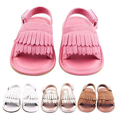 Summer Lovely Tassel Style Baby Girl Boy Toddlers Kids Sandals Shoes with Soft Anti-Slip Rubber Sole PU Upper White Size 12 Fits Babies Aged 6 to 12 Months