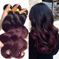Black Rose Dark Root Ombre Human Hair Weaves Black to Wine Red Body Wave Brazilian Virgin 100g Hair 3 Full Bundles Two Tone 1b/99J Burgundy... []