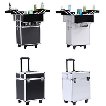 Songmics Aluminium Rolling Cosmetic Makeup Case Trolley 4 in 1 Artist Train Case Organizer Box Lift Handle UJHZ01W