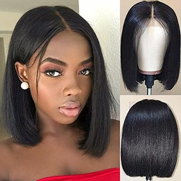 Short Bob Human Hair Lace Front Wigs for Black Women Bob Straight Brazilian Virgin Hair Glueless Full Lace Wig with Baby Hair(16inch with 130 density,Lace Front Wig)