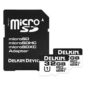 Delkin Devices 32GB MicroSDHC 375X UHS-I Memory Card - 2-Pack - Optimized for Action and Drone Cameras