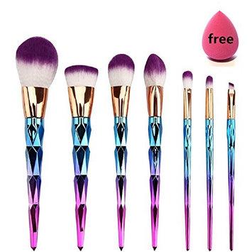 Facelink Rainbow Unicorn Makeup Brushes, 7 Pieces Makeup Brush Set Professional Face Eyeliner Blush Contour Foundation Cosmetic Brushes(7+1pcs Sponge Puff))
