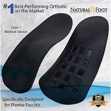 Natural Foot Orthotics Slim Stabilizer Plantar Fasciitis Inserts for Flat Feet or Low Arches, Arch Support Insoles, Made In USA, Men's 14-15