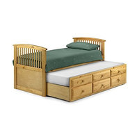 Happy Beds Hornblower Pine 3' Single Contemporary Pine Wood Guest Cabin Bed With 2x Orthopaedic Mattress [Pine, 3FT - 2x Orthopaedic Mattress]