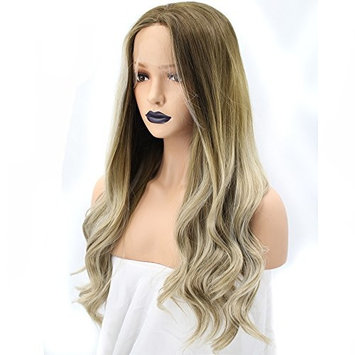 Anogol Hair Cap+HighTemperature Fiber Natural Long Body Wave Blonde Ombre Dark Roots Synthetic Lace Front Wigs For White Women