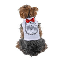 White Red Satin Bow Tie Tuxedo Soft Cotton Tee For Dog Clothing Clothes - Large (Gift for Pet)