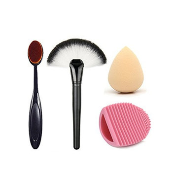 CoKate Comb Set, Big Fan Brush, Oval Tooth Brush, Eggbrush Cleaner with Water.