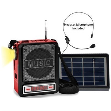 Technical Pro Solar Rechargeable Bluetooth Speaker with Wired Headset Mic & LED Torch Light