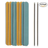 ANLAN Nail Files Washable Double Sided 100 180 Grit 10Pcs Waterproof Nail File