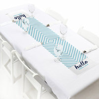 Hello Little One - Blue and Silver - Boy Baby Shower Party Petite Table Runner 12