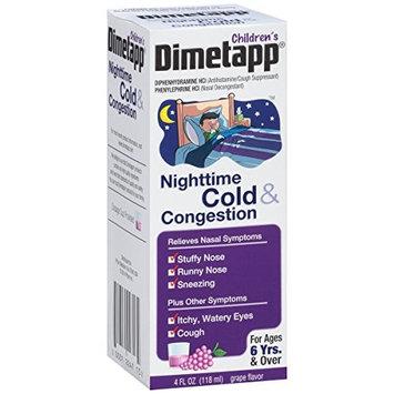 4 Pack Dimetapp Children's Nighttime Cold & Congestion Grape Flavor 4 Oz Each
