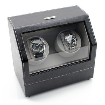 Heiden Battery Powered Dual Watch Winder - Black Leather