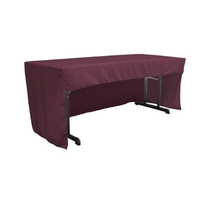 LA Linen TCpop-OB-fit-72x30x30-EggplantP42 1.95 lbs Open Back Polyester Poplin Fitted Tablecloth Eggplant