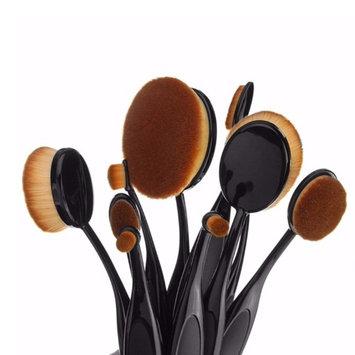 Heavenusa Premium 10-Pcs Best Seller Hollywood Collection Luxurious Ultra Soft Oval Foundation Concealer Powder Makeup Brush Set