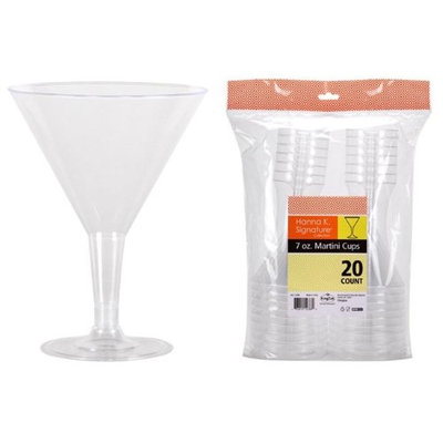 Hanna K Signature 2184824 7 oz Clear Plastic 2-pc Martini - Pack of 24 & 20 per Pack