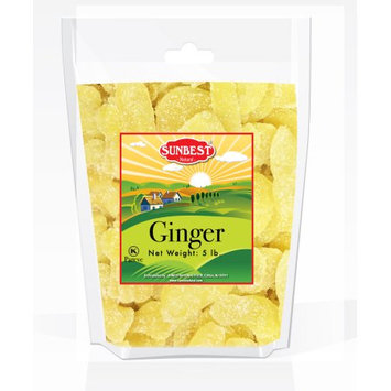 SUNBEST Dried Crystallized Ginger Slices 5 Lbs in Resealable Bag