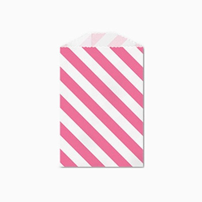25 Pink and White Diagonal Stripe Little Bitty Bags 2.75 X 4 Inches
