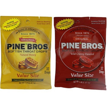 Pine Bros. Bundle-Two Flavors Softish Throat Drops, Natural Honey/Wild Cherry, 64 Count