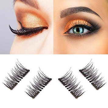 Magnetic eyelashes, Oak Leaf New Dual Magnetic False Eyelashes - 1 Pairs (4 Pieces) Ultra Thin 3D Fiber Reusable Best Fake Lashes Extension for Natural, Perfect for Deep Set Eyes & Round Eyes