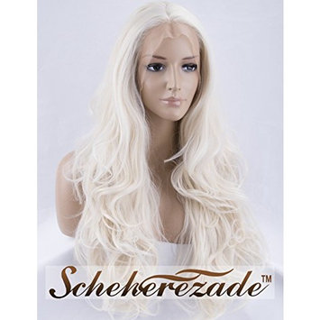 Platinum Blonde Lace Front Wigs for Women Long Wavy Synthetic Wig Half Hand Tied Glueless Replacement Hair Wigs Scheherezade 22 Inches(LCA03)