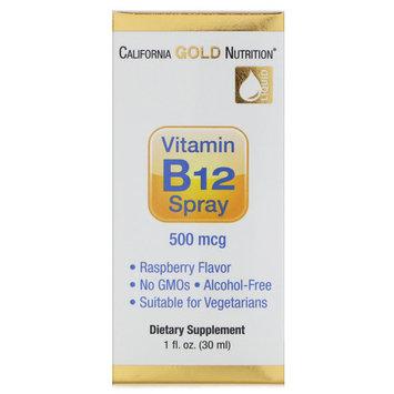 California Gold Nutrition, Vitamin B12 Spray, Alcohol Free, Raspberry, 500 mcg, 1 fl oz (30 ml) [Potency : 500 mcg]