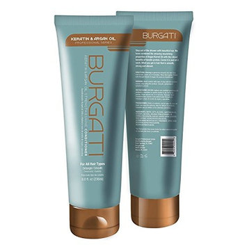 BURGATI Salon Style Conditioner with 100% Moroccan Argan Oil and Keratin   Professional Series (8 oz)   Comb it and let it work   Smooth, Strong and Vibrant   Ideal for all Hair Types   Made in USA