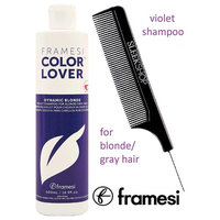 Framesi Color Lover DYNAMIC BLONDE Violet Shampoo for BLONDE/GRAY HAIR (with Sleek Steel Pin Tail Comb) (16.9 oz / 500 ml)