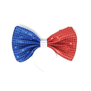 Big Blue and Red Sequin Bow Headband, for kids and adults. Bow measures 11.6