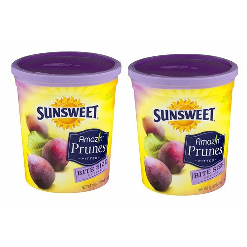 """Sunsweet Amazin Prunes, Bite Size Pitted Prunes Bundle, 2 16 oz Canisters of Dried Plums Plus""""Recipes For Prune Lovers"""" - GREAT VALUE"""